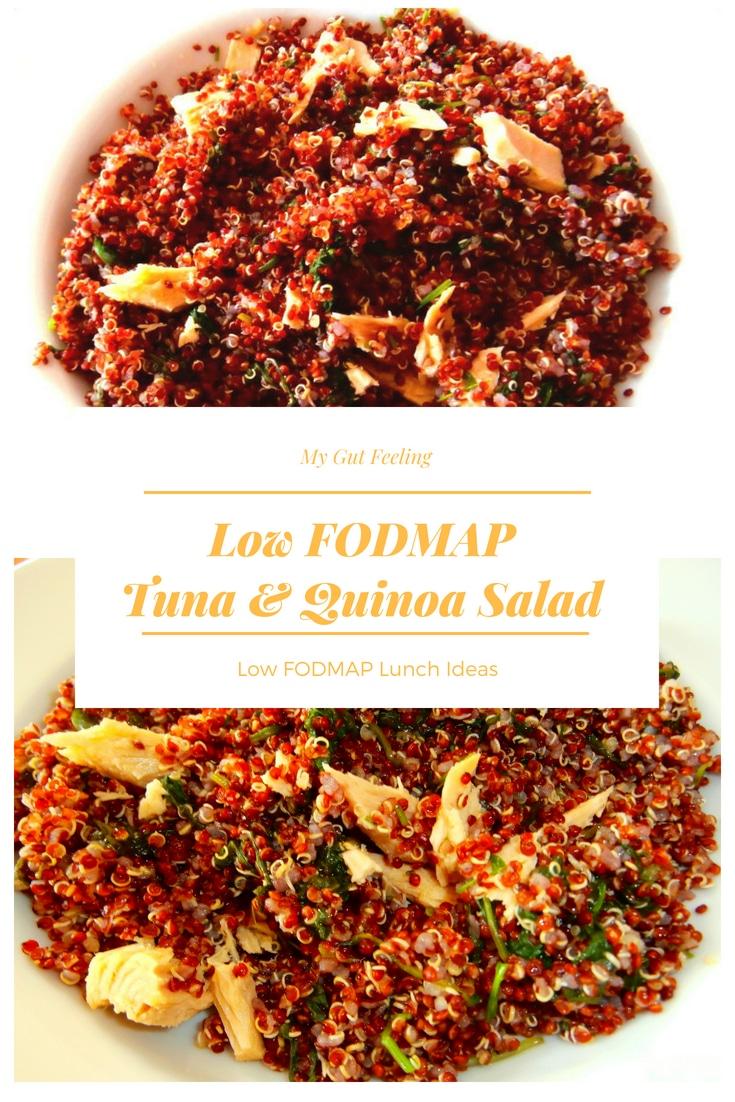 Low fodmap tuna and quinoa salad lunch recipe idea