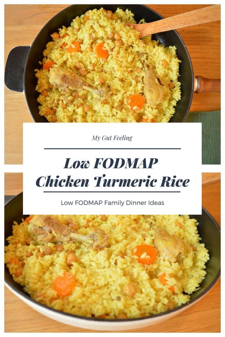 Low fodmap chicken turmeric rice dinner recipe idea