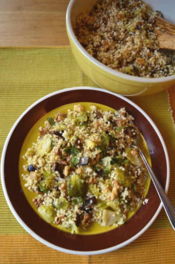 Crunchy Millet Brussels Sprout Salad w/ Walnut Vinaigrette | mygutfeeling.eu