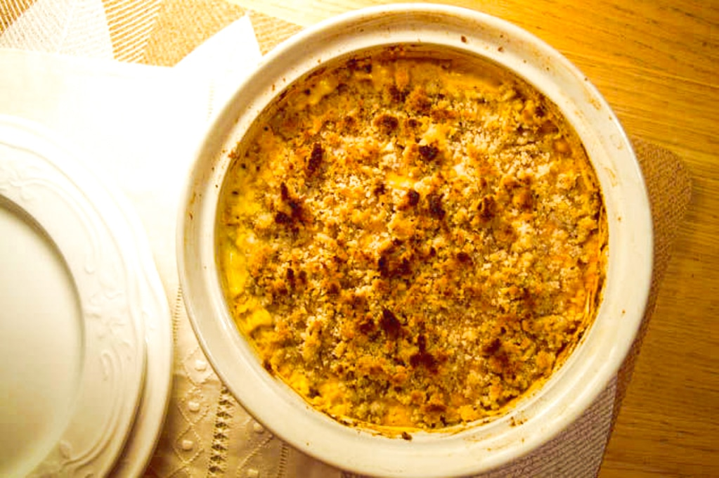 Low Fodmap Pumpkin Millet Casserole with crunchy Brazil Nuts on top