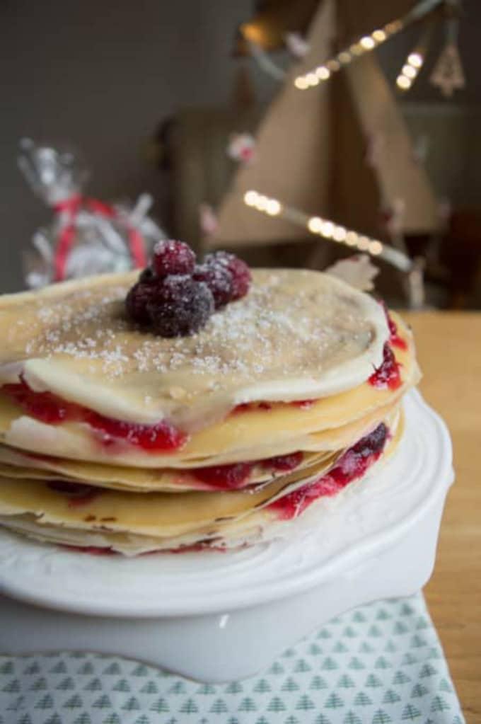 Nutella Cranberry Crepe Cake | mygutfeeling.eu #glutenfree #dairyfree #lowFODMAP