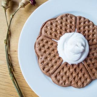 Waffles de Aveia e Chocolate com Chantilly de Coco | mygutfeeling.eu/pt #lowfodmap #vegan #semgluten