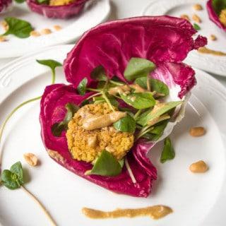 Wraps de Alface Radicchio com Falafel de Milllet #lowfodmap #vegan #semgluten