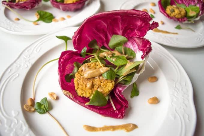 Spring Wraps w/ Millet Falafel & Lemon Tahini dressing #vegan # lowfodmap
