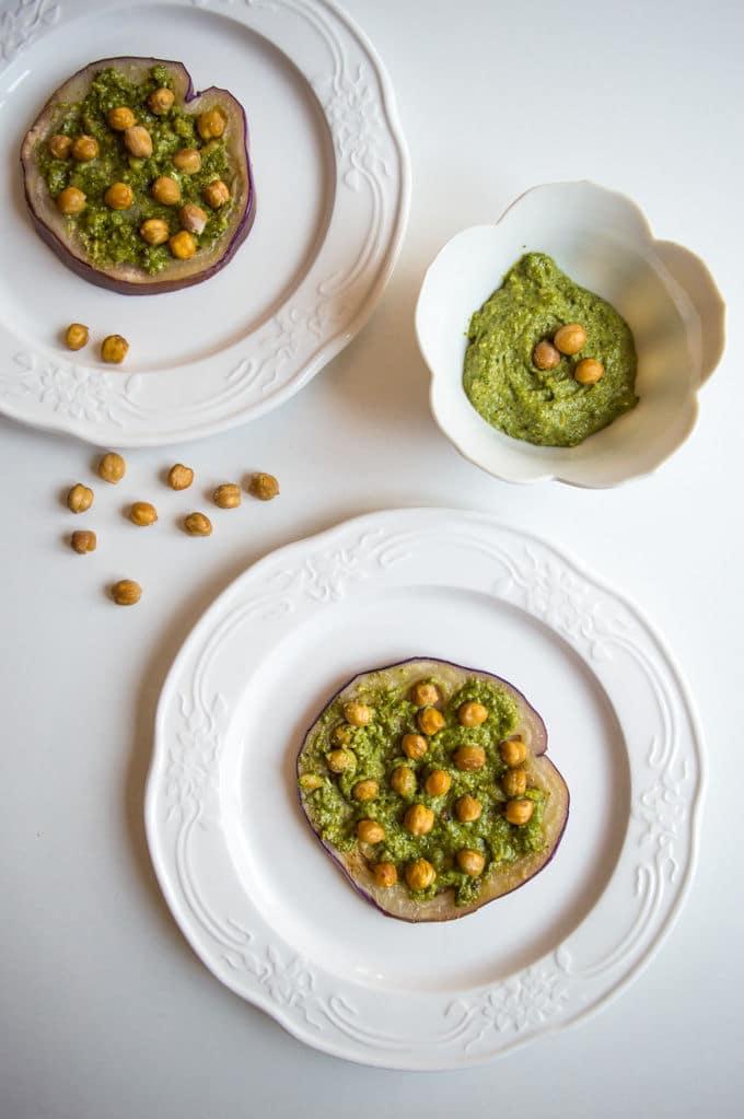 Eggplant Rounds with Cilantro Pesto and Crispy Chickpeas #vegan #lowfodmap
