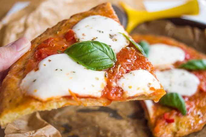 Pizza Margherita w/ Zucchini Crust #glutenfree #lowfodmap
