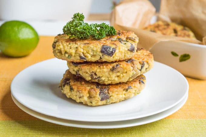 Eggplant and Herbed Millet Veggie Burgers