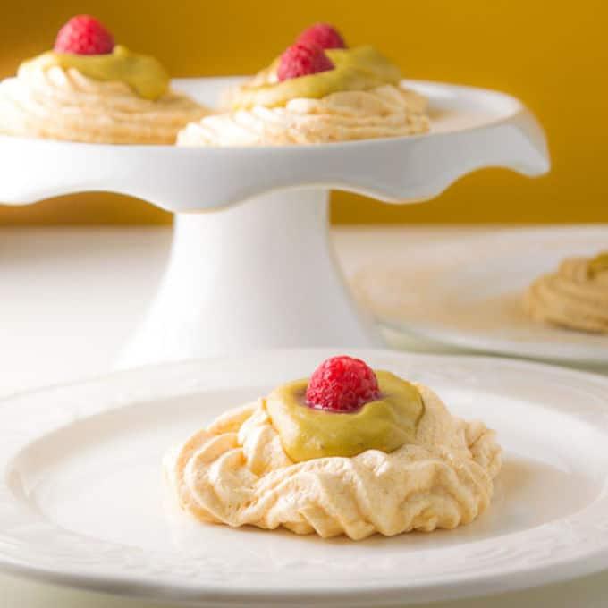 Mini Pavlovas with Banana-Lemon Curd