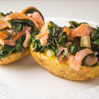 Batatas Recheadas com Salmão e Acelga #lowfodmap