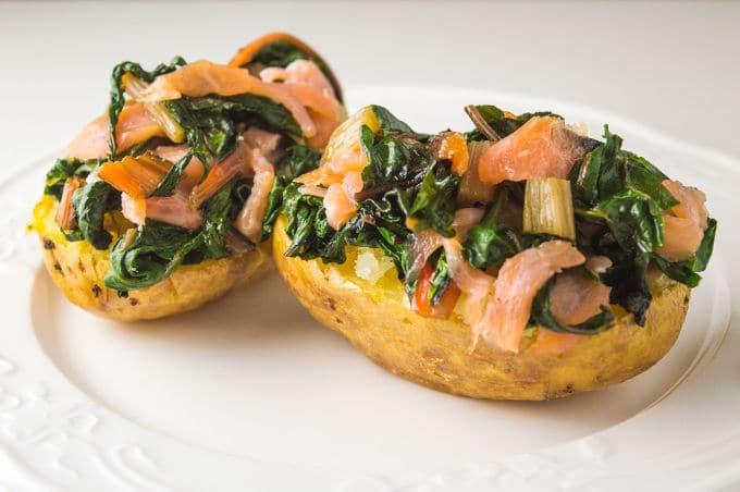 Salmon and Swiss Chard Loaded Potatoes