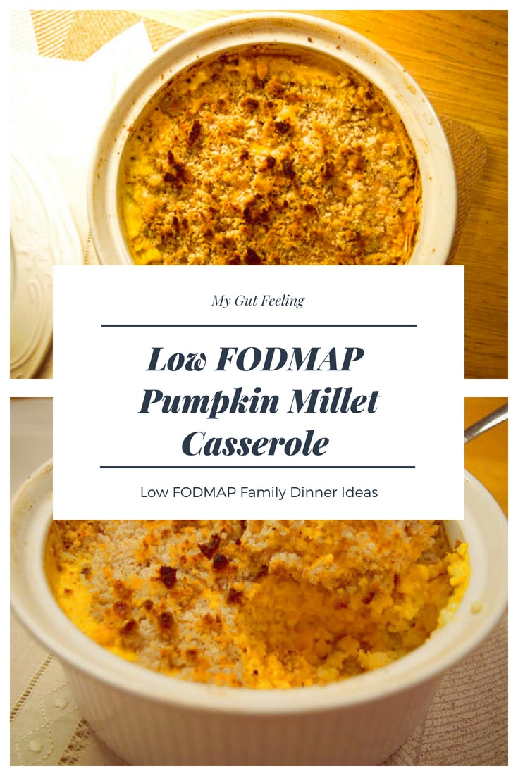 Low Fodmap Pumplin Millet Casserole recipe with crunchy brazil nuts on top