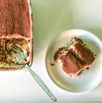 A slice of low fodmap tiramisu taken from an oven dish