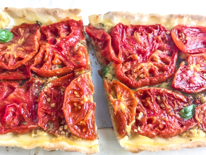 A tomato tart cut in half