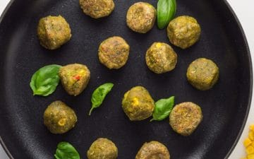 vegetable balls on a skillet