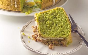 slice of green cake on a plate