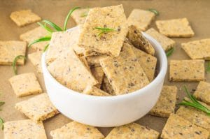 bowl with crackers surrounded by crackers