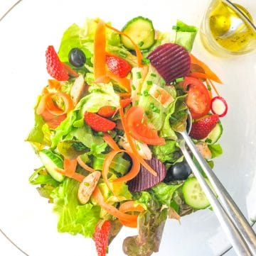 bowl with a low fodmap salad and dressing in a small bowl