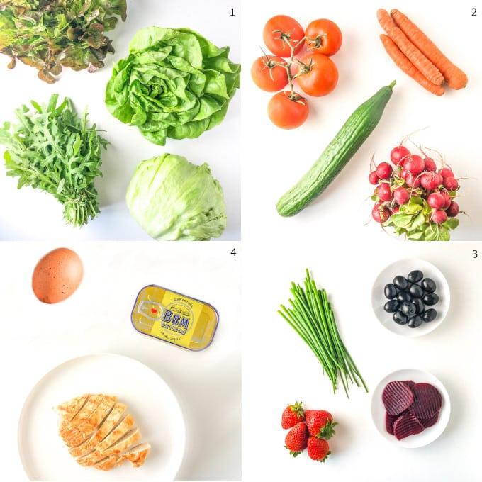 quatro fotos com ingredientes de salada low fodmap por categoria