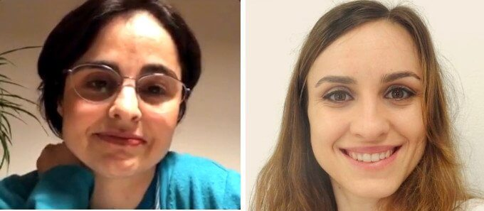 duas fotos com a paciente Joana Oliveira e a nutricionista Patrícia Costa