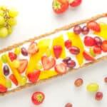 rectangular shaped low fodmap fruit tart